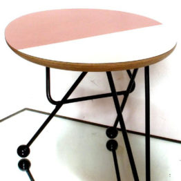white and pink side table