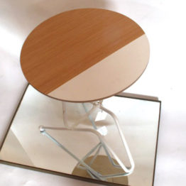 oak and white side table